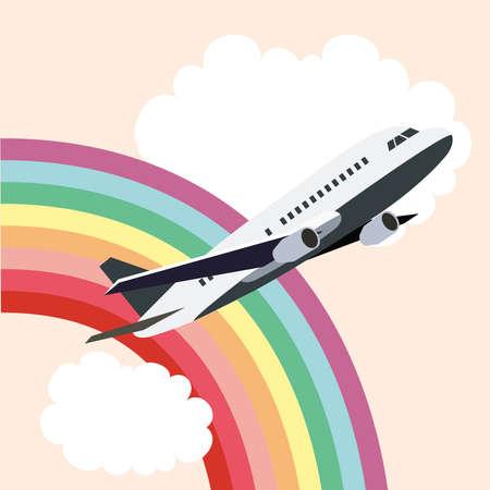 Airplane passing through the rainbow
