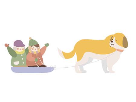 Dog sledding children