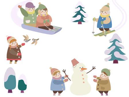 Children on a snowy day