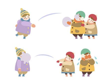 Children in a snowball fight 2-frame set