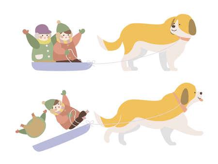 Dog sledding children 2 illustrations
