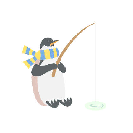 Penguins fishing Illustration