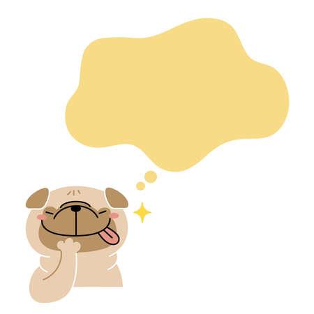 Pug dog rejoices in imagining a feast 向量圖像