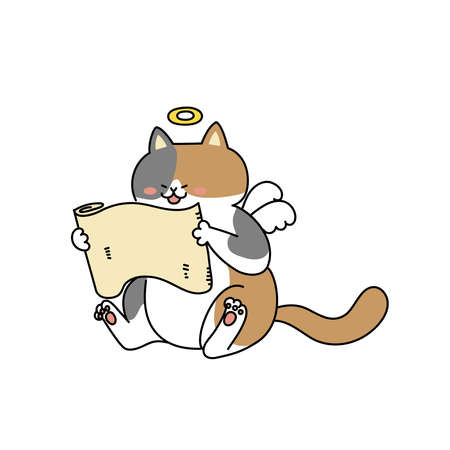Angel cat reading a scroll