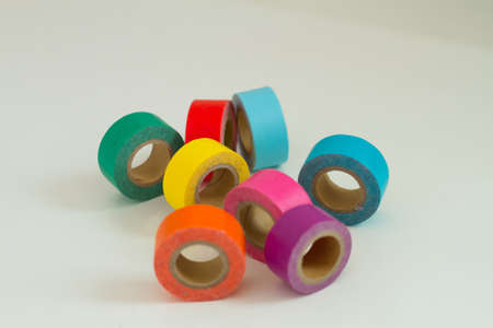 yellow orange green red pink masking tape .