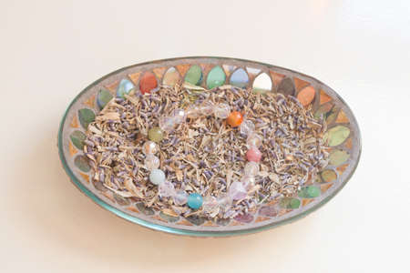 chakra energy: healing crystal stone . Stock Photo