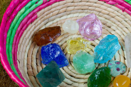 Healing crystal stone and green.