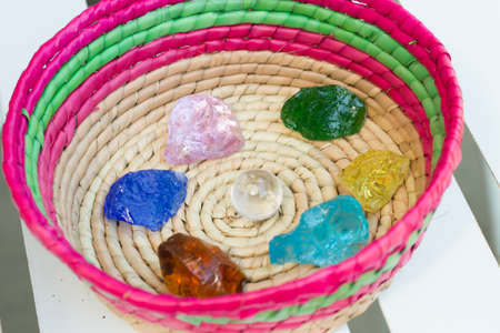 Healing crystal stones in the basket