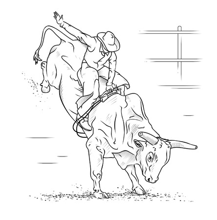character traits: Bull Riding on a white background