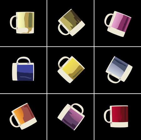 ceramics: colorful cups for textiles or ceramics decorating