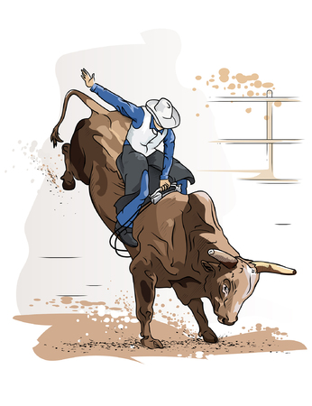 Cowboy Bull Riding competition Vector Illustration