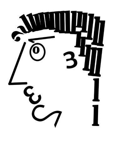 lier: the mans head is made of digits in black on the white background