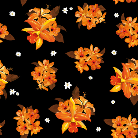 reiteration: Orange floral pattern on a black background