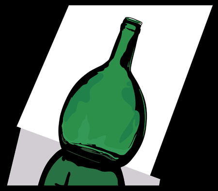 oval  alcohol: Green bottle with a reflection on a light background