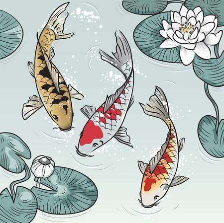 Tres koi-peces entre agua-lilys