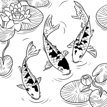 Tres koi-peces y de agua-lirios sobre un fondo blanco Ilustración de vector