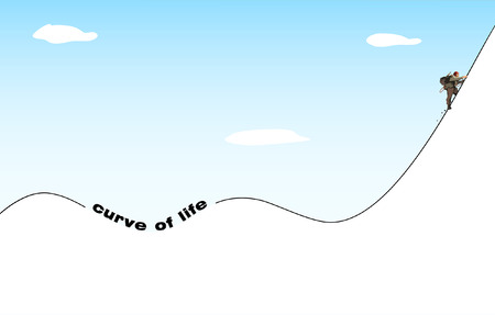 perseverance: life philosophy: ups and downs Illustration
