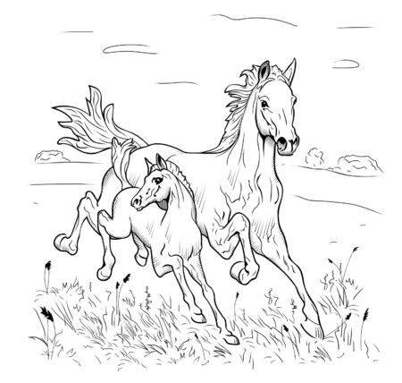 Mare and foal hurry on steppe on a white background