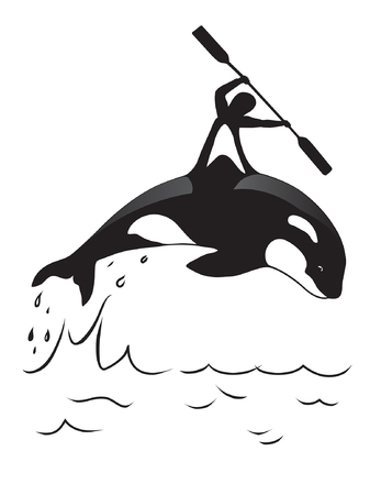 orca: Orca and man. Symbol for water clubs or for placing on T-shirts.