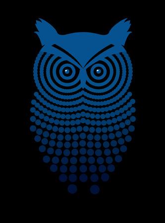 Decorative image of owl on a black background Illustration