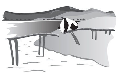 destroyed: A panda stands on the destroyed bridge