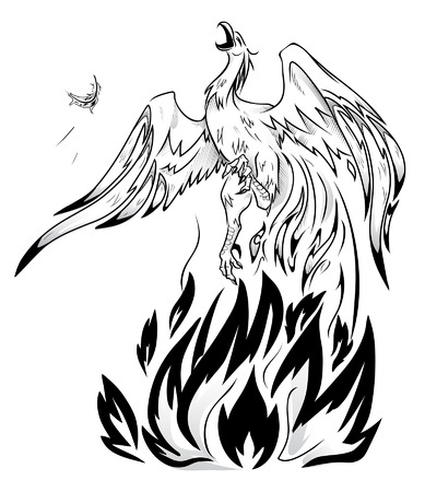 mythical phoenix bird: Legendary bird Phoenix on a white background