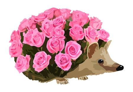 metaphorical: metaphorical image of hedgehog with roses instead of needles