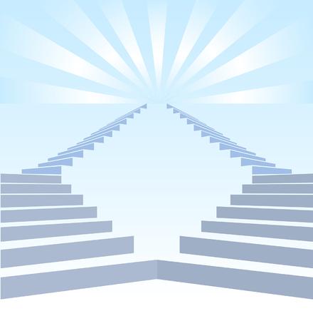 upwards: Stair upwards and refulgency in blue sky Illustration