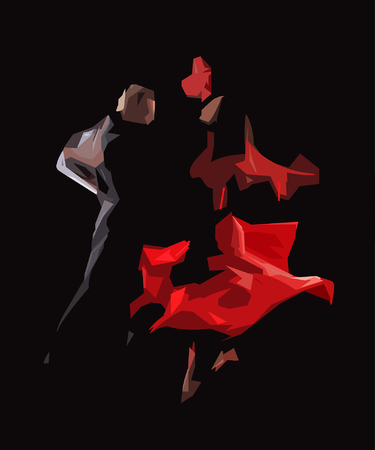 perform: The stylized image of dancers who perform tango