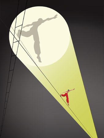 rope walker: Tightrope walker under the dome of circus Illustration