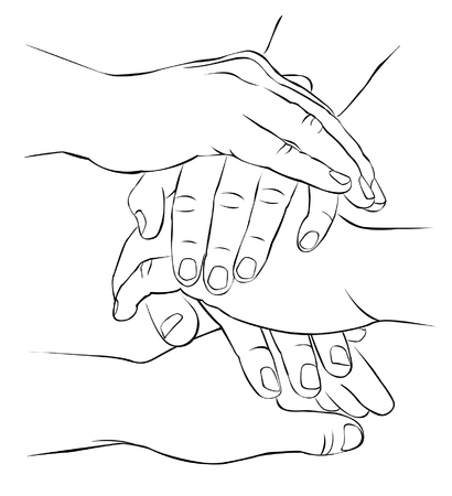 folded hands: A few hands folded together