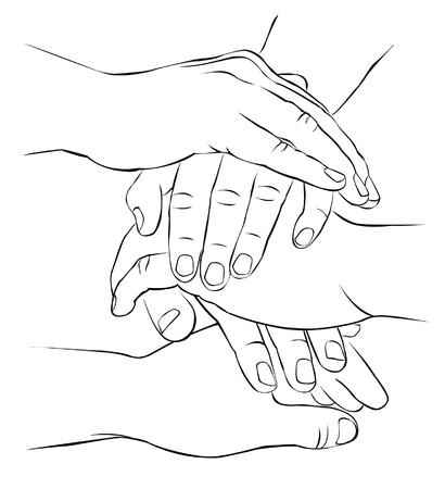 few: A few hands folded together