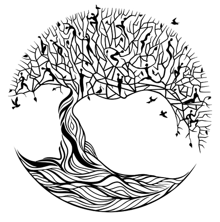 social history: Black tree of life on white background