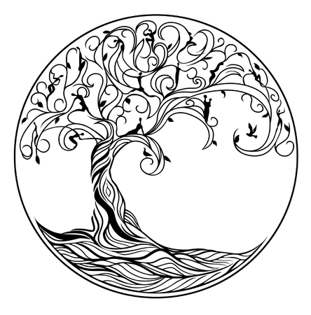 branch silhouette: Tree of life on white background Illustration