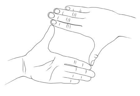 folded hands: Two hands folded in crop Illustration