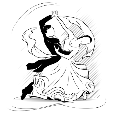 waltz: Classic motion of waltz on a white background