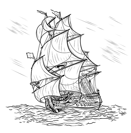 Le navire poussé par le vent nage sur une mer sur un fond blanc Vecteurs