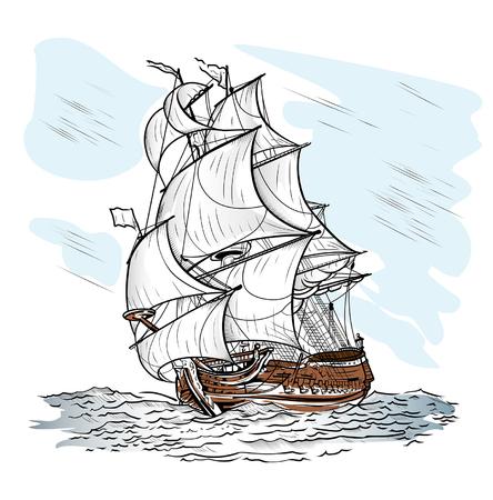 Le navire poussé par le vent nage sur une mer Vecteurs