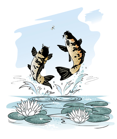 jumping carp: Two carp jump out from water after a dragon-fly on sky background, illustration Illustration
