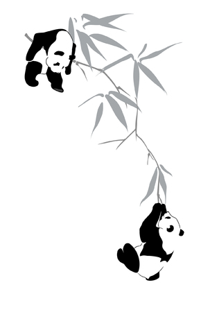 Two pandas on bamboo branch on white background. illustration Иллюстрация
