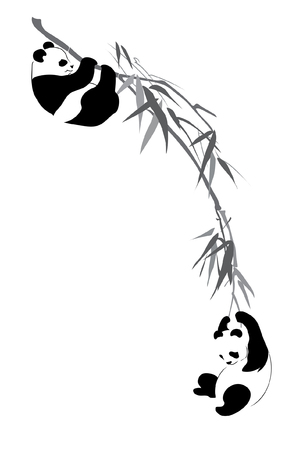 Two pandas on branch on white background Illustration