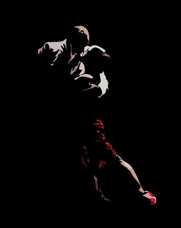 탱고를 수행 댄서의 양식에 일치시키는 이미지 일러스트
