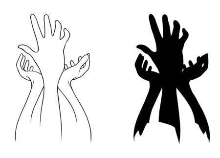 position d amour: Tenir la main sur fond blanc