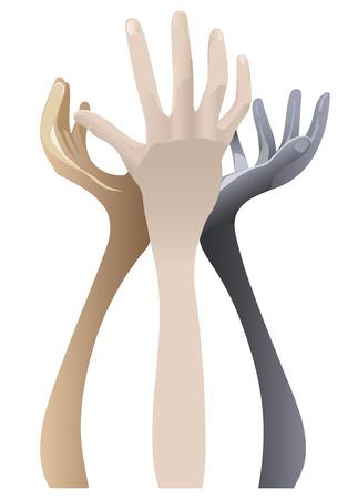 position d amour: Color� tenant les mains sur fond blanc