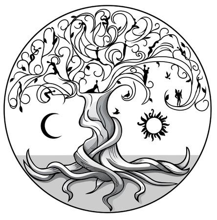 Árvore da vida com sol e lua no fundo branco Ilustración de vector