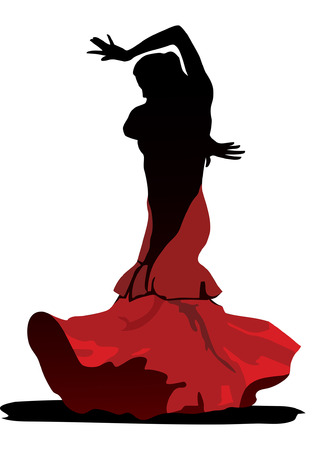 The stylized image of dancer flamenco on white background