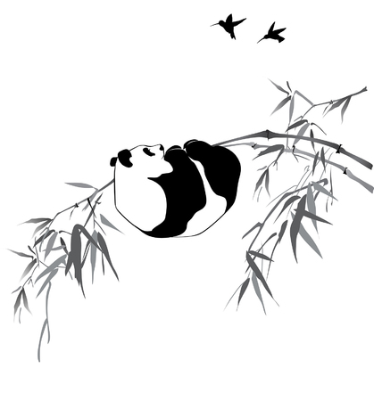 Pandas on bamboo branch and birds on white background