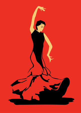 The stylized image of lamenco dancer on red background