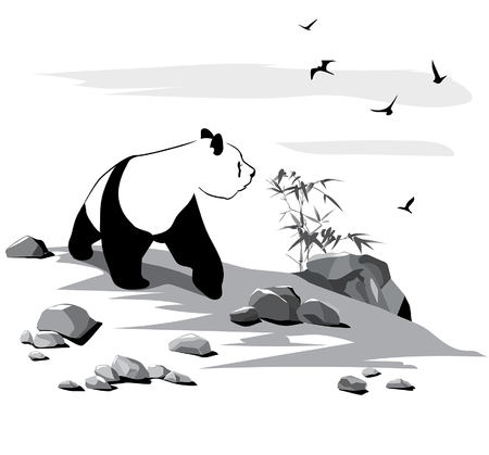 Curious panda among stones and birds on white background Illustration