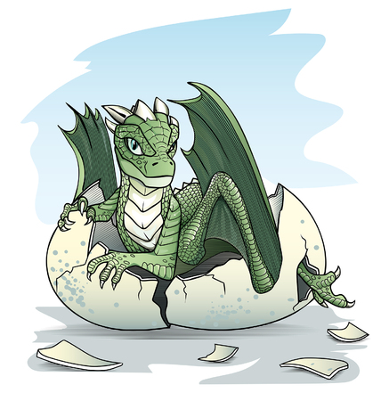 broken eggs: Green baby dragon piping from an egg on sky background